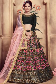 Black Silk Lehenga Choli Gold Foil Print