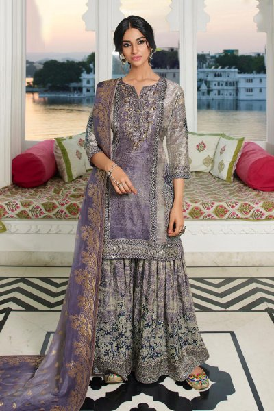 Wonderful Grey Palazzo Suit in Silk