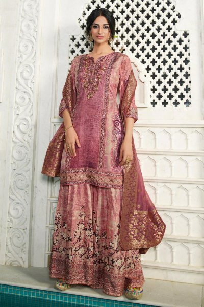 Amazing Pink Palazzo Suit in Silk