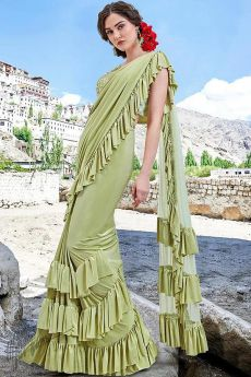 Light Green Ruffle Saree with Bead Work Blouse