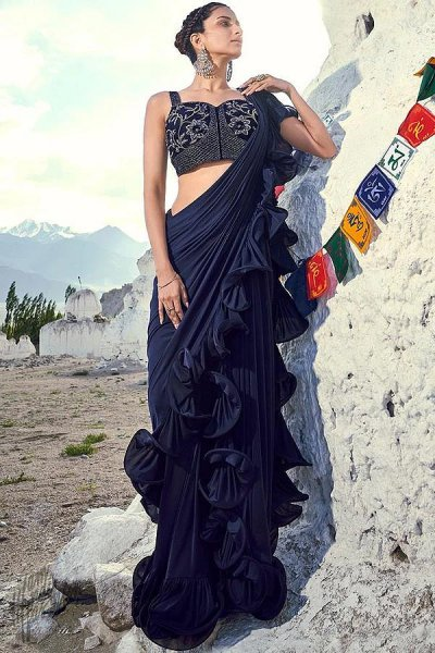 Classic Navy Ruffle Saree with Bead Work Blouse