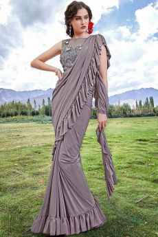 Taupe Ruffle Saree with Bead Work Blouse