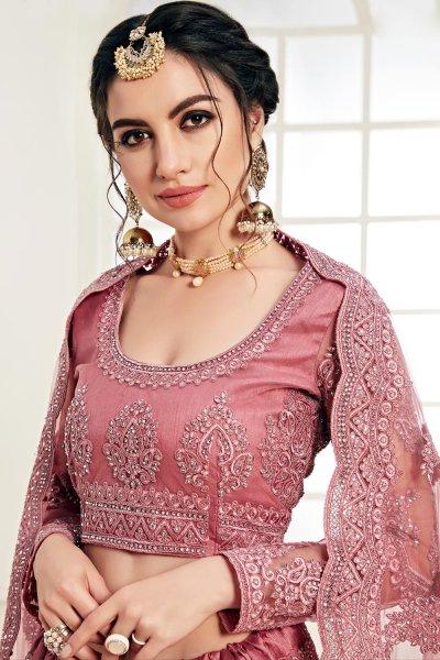Blush Pink Net Lehenga Choli with Embroidery