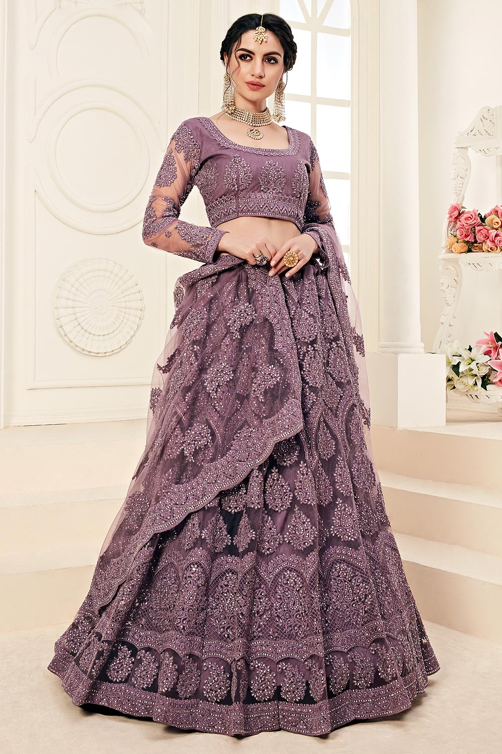 Lilac Net Lehenga Choli with Embroidery