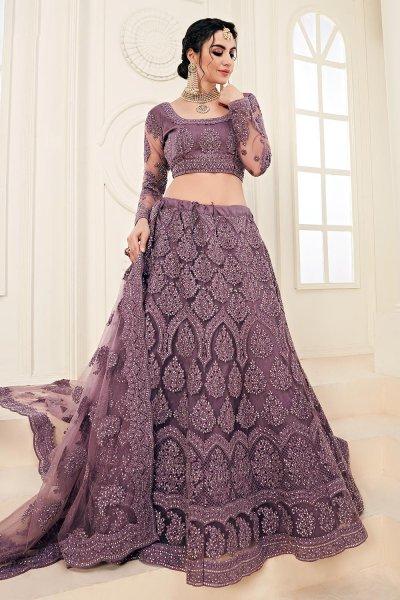 Lilac Net Lehenga Choli with Embroidery