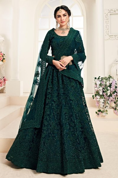Bottle Green Net Lehenga Choli with Embroidery
