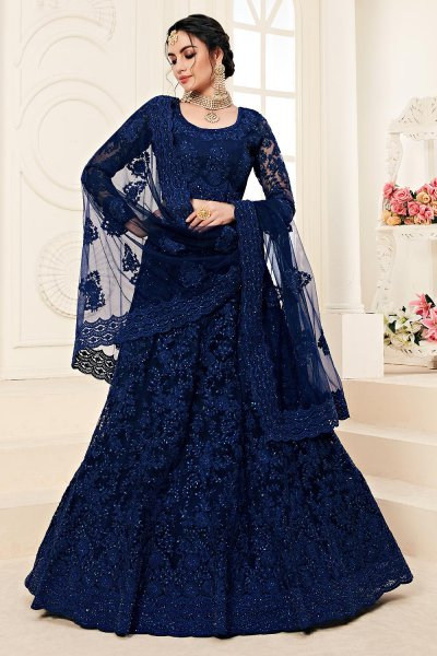 Classic Navy Net Lehenga Choli with Embroidery