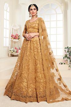 Golden Net Lehenga Choli with Embroidery