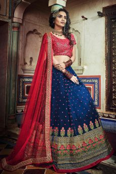 Exquisite Sea Green Silk Zari Work Lehenga