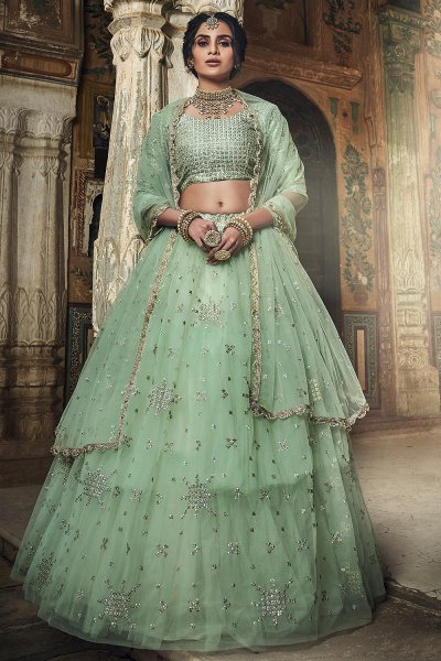 Exquisite Light Sea Green Silk Zari Work Lehenga in Net
