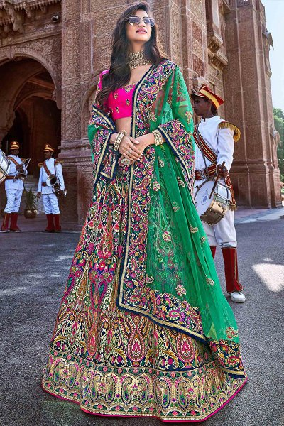 Multicolored Banarasi Silk Embroidered Lehenga Choli