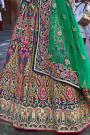 Multicolored Banarasi Silk Embroidered Lehenga Choli