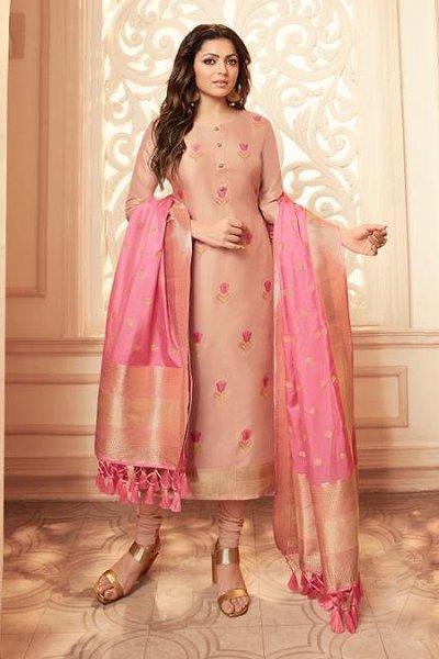 Dusky Pink Banarasi Silk Salwar Kameez