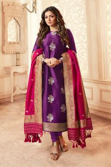 Pink and Purple Banarasi Silk Salwar Kameez
