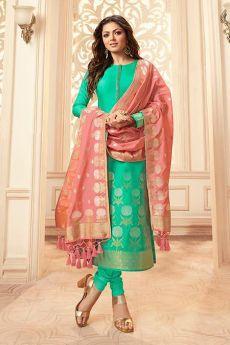 Baby Pink and Turquoise Banarasi Silk Salwar Kameez