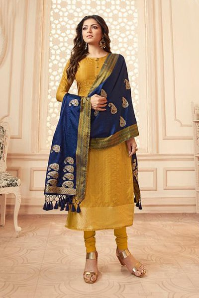 Mustard and Navy Banarasi Silk Salwar Kameez