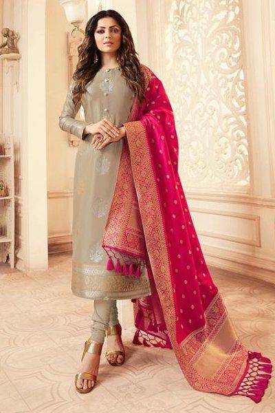 Taupe and Magenta Banarasi Silk Salwar Kameez