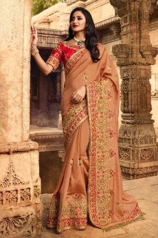 Dark Almond Silk Embroidered Saree