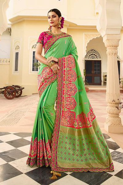 Light Green and Pink Silk Embroidered Saree