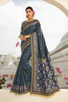 Steel Blue Banarasi Silk Saree