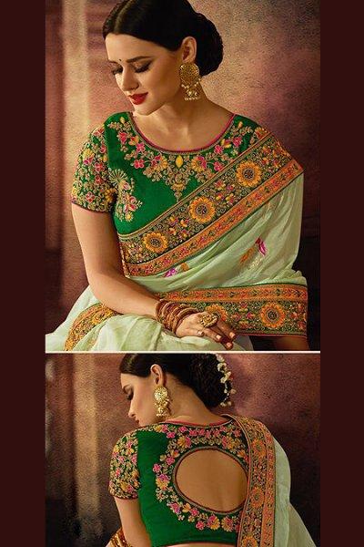 Light Mint Banarasi Silk Embroidered Saree
