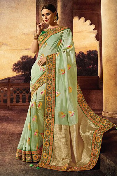 Light Mint Banarasi Silk Embroidered Saree