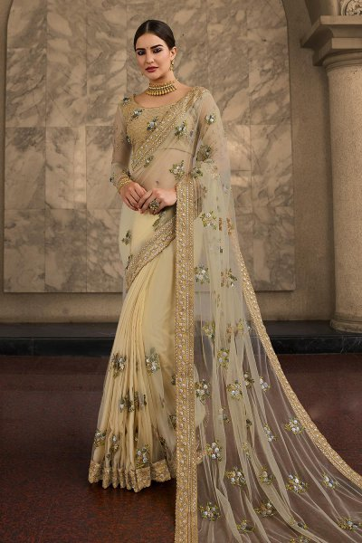 Ecru Sequin Work Designer Net Saree