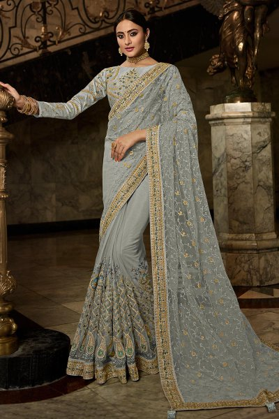 Silver Grey Embroidered Net Saree