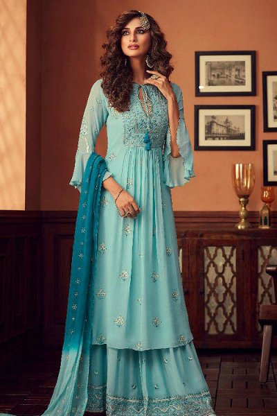 Light Blue Georgette Foil Work Sharara Suit