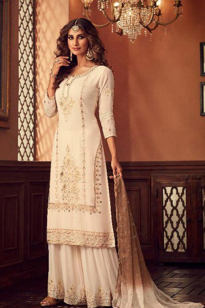 Off White Georgette Foil Work Sharara Suit