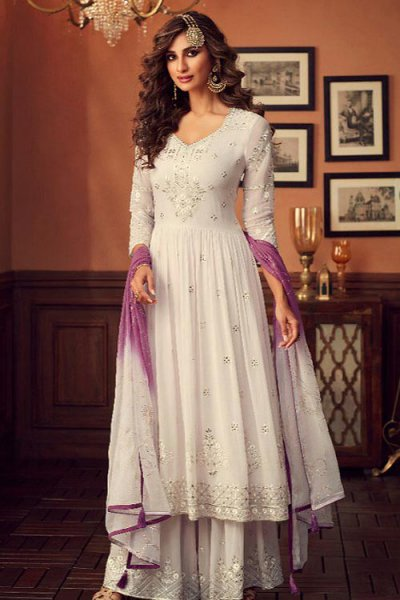 White Georgette Foil Work Sharara Suit