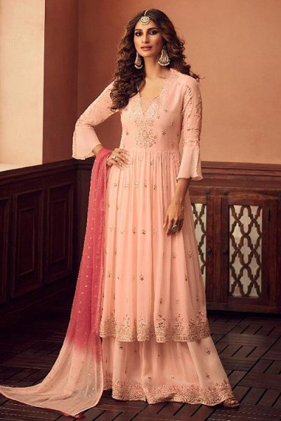Poppy Peach Georgette Foil Work Sharara Suit