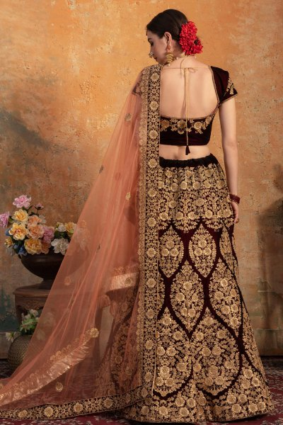 Maroon Bridal Wear Lehenga in Velvet