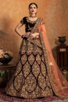 Maroon Bridal Wear Lehenga in Velvet