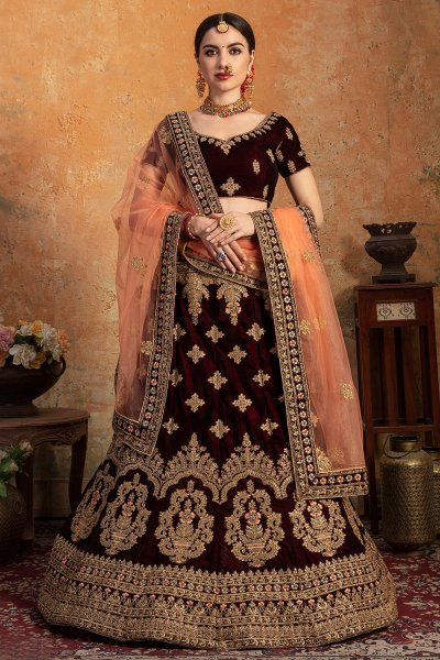 Maroon Zari Embroidered Lehenga in Velvet