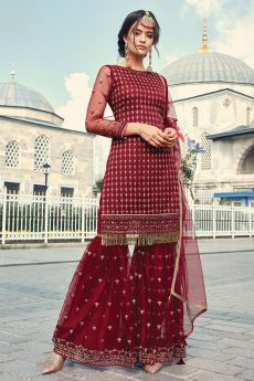 Cherry Red Sharara Suit in Net