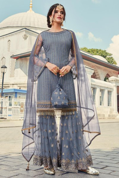 Steel Blue Sharara Suit in Net