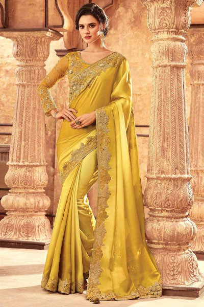 Yellow Silk Embroidered Saree