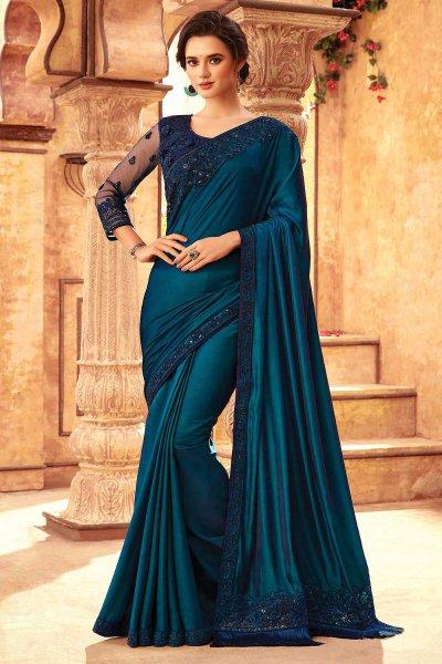 Teal Silk Embroidered Saree