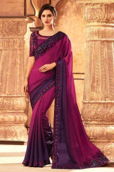 Two Tone Purple Silk Embroidered Saree