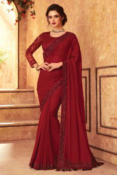 Cherry Red Georgette Embroidered Saree