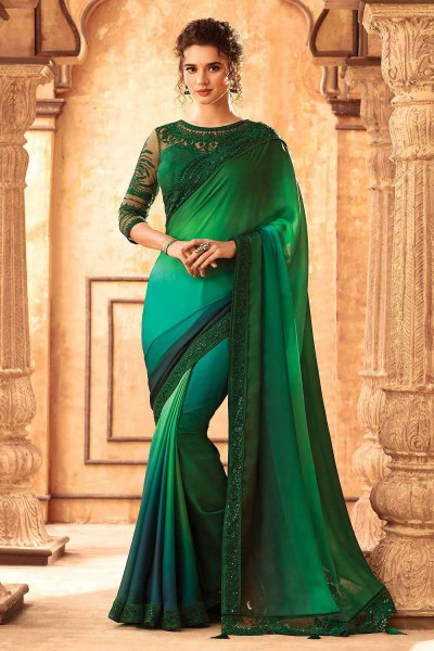 Two Tone Green Silk Embroidered Saree