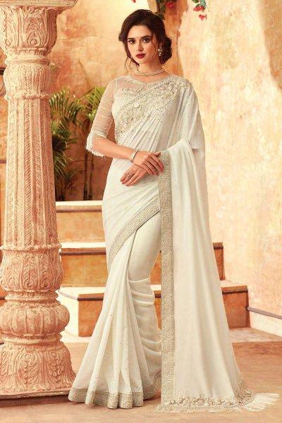 White Silk Embroidered Saree