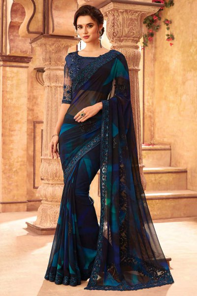 Blue Mosaic Printed Georgette Saree