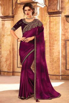 Burgundy Embroidered Silk Saree