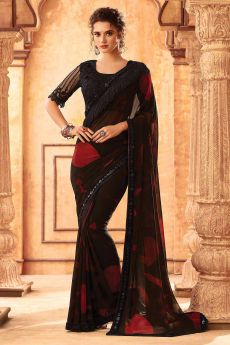 Black and Red Georgette Saree
