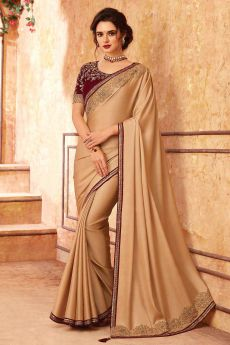 Beige and Red Silk Embroidered Saree