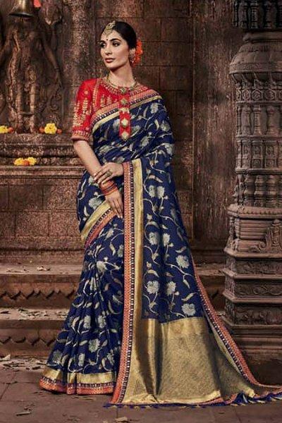 Classic Blue Banarasi Silk Saree