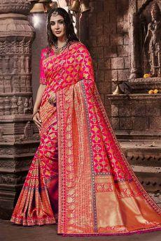 Poppy Pink Banarasi Silk Saree