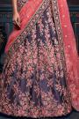 Carbon Blue and Pink Satin Silk Lehenga Choli